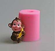 Lovely Monkey Banana Animal Fondant Cake Mold The Chinese Zodiac Salt Carving Mould Silicone Candle Mold