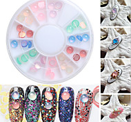 Top Nail 12 Shiny Color Shell Feathers Design Acrylic Wheel Glitter Rhinestone Manicure Tips For Charms 3D Nail Art Decorations