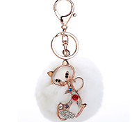 Key Chain Sphere / Cat Key Chain White Metal / Plush