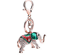 Key Chain Elephant Key Chain Green / Gold Metal