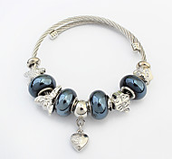 Women's Charm Bracelet Strand Bracelet Alloy Heart Fashion Heart Dark Blue Blue Khaki Jewelry 1pc