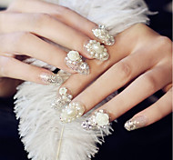 24 Pieces Finished Manicure Fake Nails Pearl Shanzuan Floret Color The Bride Nail Strips Of Glue