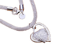 Necklace Pendant Necklaces Statement Necklaces Jewelry Thank You Valentine Heart Heart Sterling Silver Women Gift Silver