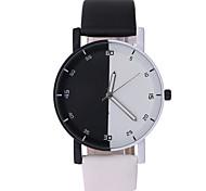 Men's Women's Wrist watch Quartz PU Band Black White Brand