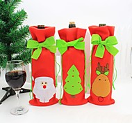 navidad vino tinto botella cubierta de la bolsa bolsas decoración de la mesa de la cena en casa de navidad para la decoración de Navidad