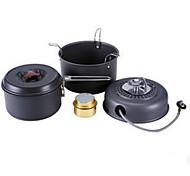 Aço Inoxidável Liga de Alúminio Camping Utensílio para Comer Set Conjunto Panelas pote fogão ConjuntosCampismo Churrasco Caminhada