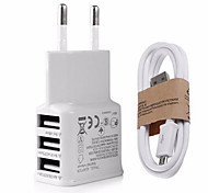 3 USB Phone AC Wall  Charger Fast Charging 3A with Micro USB Cable  for Samsung iPhone Huawei LG SONY Xiaomi Google and Others