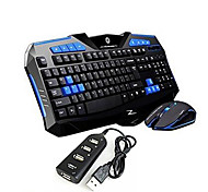 New 2.4GHz Wireless Gaming keyboard Gaming Mouse 2400DPI and 3 USBs HUB 3 Pieces a Set