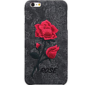 For IPhone 7 Plus 7 6 Plus 6 Embroidery Chic Rose Case PC with Art Handmade Flower Cover Elegant Retro Phone Cover Bags
