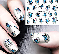 1pcs Blue Butterfly  Watermark  Nail Stickers Nail Art Design