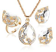 Bijoux 1 Collier / 1 Paire de Boucles d'Oreille / Anneaux / 1 paquet Diamant / Saphir / Émeraude / Cristal Mariage / SoiréeCristal /