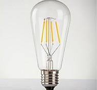 4W E26/E27 LED Globe Bulbs ST64 4 High Power LED 140-280 lm Warm White Decorative AC 220-240 V 1 pcs