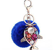 Key Chain Sphere Dolphin Navy Blue Metal Plush