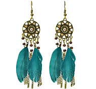 Colorful Feather Long Drop Earrings