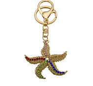 Fashion Rhinestone starfish Keychain Key Ring Pendant lady bag