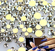1400pcs/pack Clear Crystal Rhinestones Nail Art Tips Sticker New 2017 Gold Base Glass Flatback Diamond Nail Decor