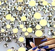 1400pcs/pack Clear Crystal Rhinestones Nail Art Tips Sticker New 2017 Gold Base Glass Flatback Diamond Nail Decor