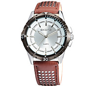 Men's Fashion Watch Quartz Water Resistant/Water Proof Noctilucent Leather Band Casual Black Brown Brand