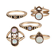 Ring Acrylic Party Daily Casual Jewelry Alloy Women Ring 1set Silver Fashion Personality Beautiful Ancient 5pcs