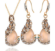Jewelry Set Opal Alloy Peacock Gold Daily 1set 1 Necklace 1 Pair of Earrings Wedding Gifts