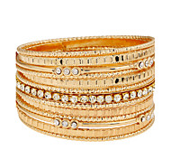 Women's Wrap Bracelet Alloy Simulated Diamond Punk Silver Golden Jewelry 1pc
