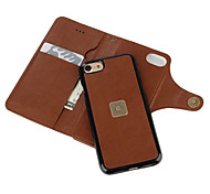 For iPhone 7 Case iPhone 7 Plus Case iPhone 6 Case Wallet Card Holder Dustproof Case Full Body Case Solid Color Hard PU Leather for Apple