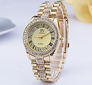 Mulheres Relógio de Moda Relógio de Pulso Simulado Diamante Relógio Quartzo Lega Banda Prata Dourada Dourado Prata