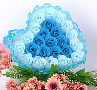 cadeaux promotionnels de jour du mariage de valentine fournit coffret cadeau fleur 24 fleur de dentelle en forme de coeur fleur Savon