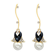 Drop Earrings Imitation Pearl Pearl Simulated Diamond Fashion Black Jewelry Wedding Party Daily 1 pair
