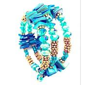 Women's Wrap Bracelet Crystal Crystal Cowry Shell Alloy Double-layer Fashion Bohemian Cross Inspirational Two-tone JewelryOrange Purple