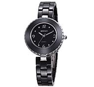Women's Fashion Watch Quartz Ceramic Band Black White Brand