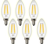 4W E14 Lampadine LED a incandescenza 4 COB 400 lm Bianco caldo Luce fredda AC 220-240 V 6 pezzi