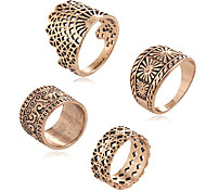 Ring Acrylic Party Daily Casual Jewelry Alloy Women Ring 1set Silver Japanese Korean Fashion Personality Beautiful 4pcs