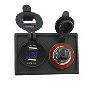 12v / 24v прикуривателя и 4.2а Dual USB адаптер вольтметр с держателем корпус панель для автомобиля лодки грузовик с.в.