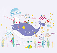 Creative Cartoon Whale Wonderland Wall Stickers New Fashion Children's Bedroon Wall Stickers Home Decoration Wall Decal