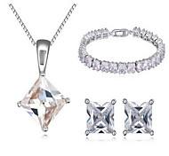 Schmuck 1 Halskette 1 Paar Ohrringe 1 Armreif Kubikzirkonia Party Zirkon 1 Set Damen Weiß Hochzeitsgeschenke