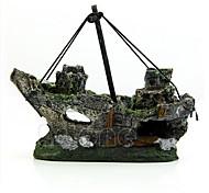 Aquarium Decoration Ornament Ship Artificial Resin Black