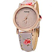 Mulheres Relógio de Moda Quartzo Digital Colorido Couro Banda Flor Pendente Casual Laranja Verde Rosa Roxa Cáqui marca