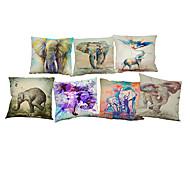 7 PC Lino Cobertor de Cojín Funda de almohada,Floral Sólido Novedad Con Texturas Vida SalvajeModerno/Contemporáneo Casual Oficina/