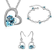 Jewelry Set Crystal Alloy Red Green Blue Party 1set 1 Necklace 1 Pair of Earrings 1 Bracelet Wedding Gifts