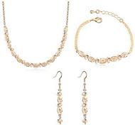 Cristal Legierung Dorado Plata 1 Collar 1 Par de Pendientes 1 Brazalete Para Fiesta 1 Set Regalos de boda