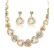 May Polly  Europe and the United States burst 18K Saturn ring Pearl Necklace Earrings Set