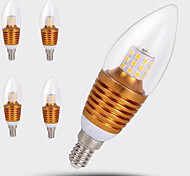 5pcs Gold Shell 7W E14 SDM2835 35LED Warm Color Screw Thread Led Candle Light  Led Bulbs Chandelier Lamps AC220-240V