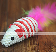 Cat Toy Pet Toys Teaser Feather Toy Mouse Random Color Textile