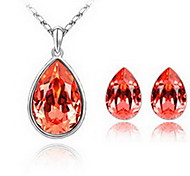 Jewelry Set Crystal Alloy Red Blue Party 1set 1 Necklace 1 Pair of Earrings Wedding Gifts