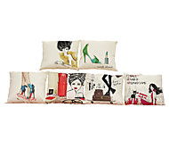 Set of 6 European style oil painting pattern Linen Pillowcase Sofa Home Decor Cushion Cover
