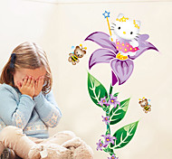 Cartoon Cats With Purple Flowers Bee Wall Stickers Personality Girls Bedroom Wall Decals DIY Wall Art