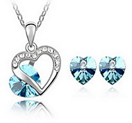 Jewelry Set Crystal Alloy Green Blue Navy Light Blue Lavender Party 1set 1 Necklace 1 Pair of Earrings Wedding Gifts