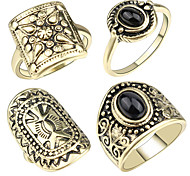 Ring Acrylic Party Daily Casual Jewelry Alloy Women Ring 1set Golden Europe Fashion Ancient Beautiful 4pcs Rings