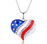 Colored heart-shaped American flag peach heart pendant necklace fashion necklace 0372 #